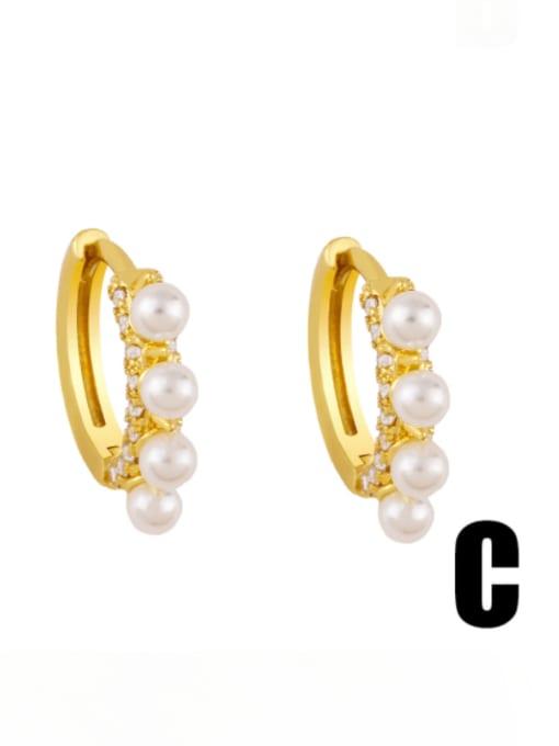C Brass Cubic Zirconia Star Vintage Stud Earring