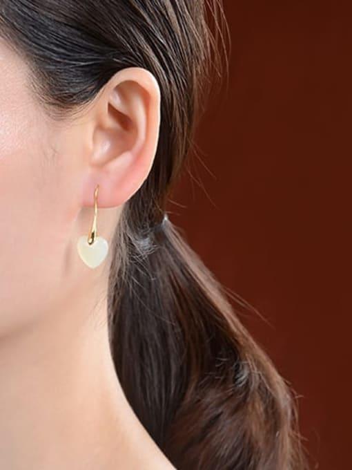 DEER 925 Sterling Silver Jade Heart Minimalist Hook Earring 2