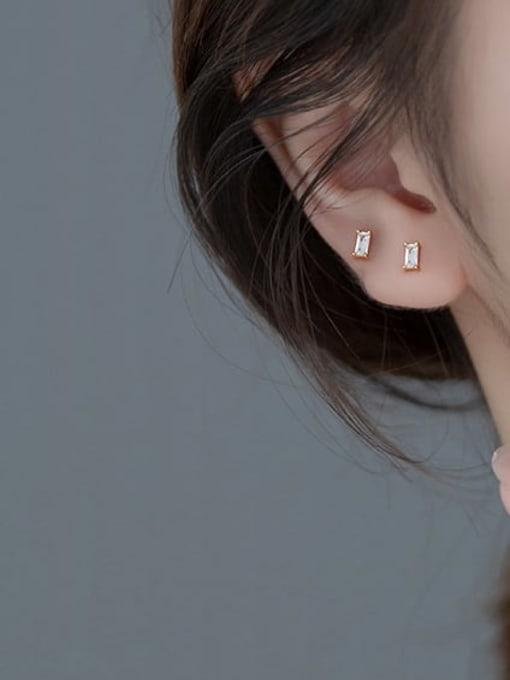 Rosh 925 Sterling Silver Cubic Zirconia Geometric Minimalist Chandelier Earring 2