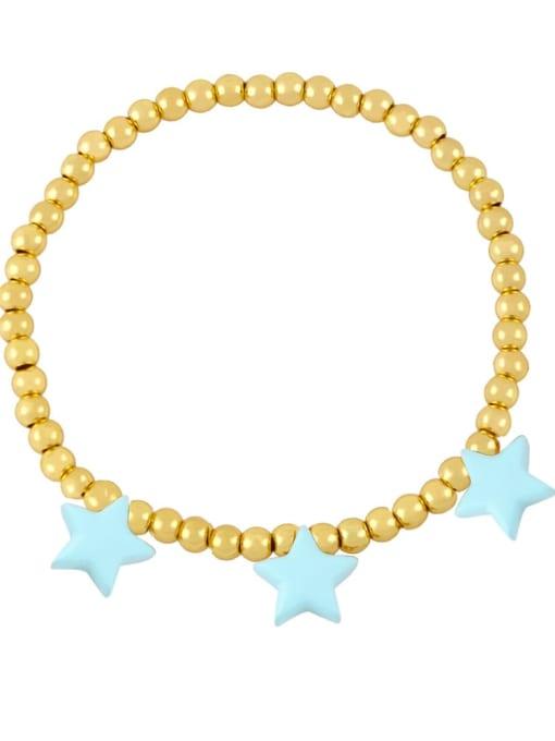 Light blue Brass Enamel Star Vintage Beaded Bracelet