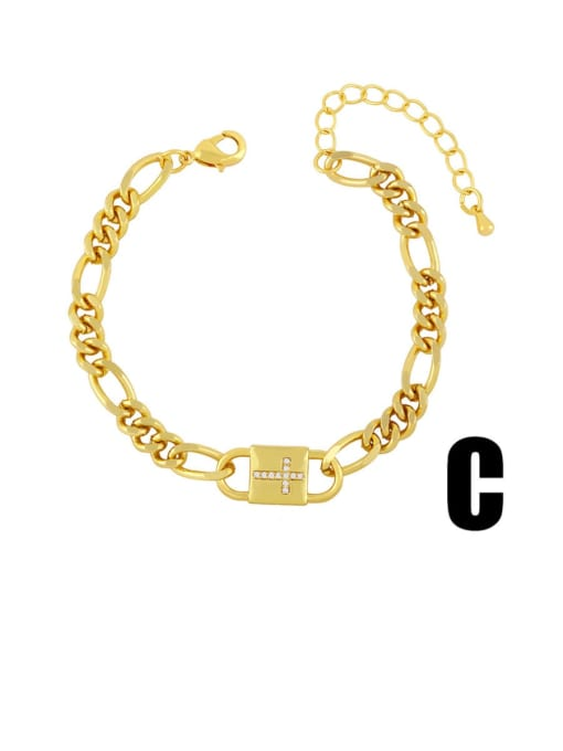C Brass Cubic Zirconia Moon Vintage Link Bracelet