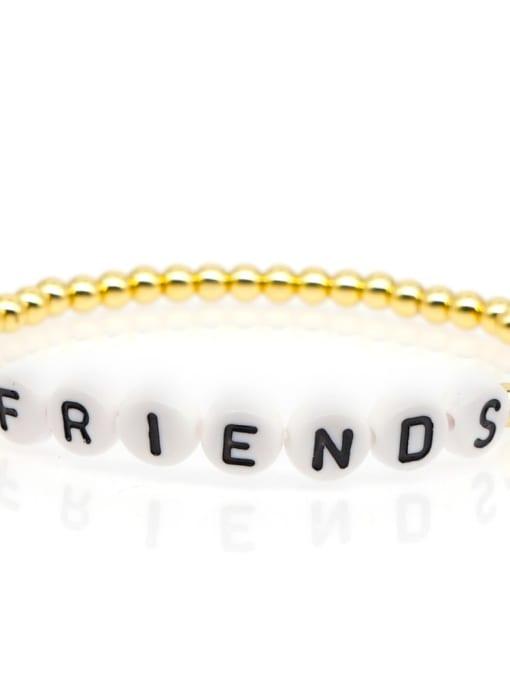 QT B200015C Stainless steel Bead Acrylic Letter Bohemia Beaded Bracelet