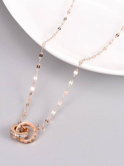 A TEEM Titanium Steel Rhinestone Number Minimalist Necklace 2