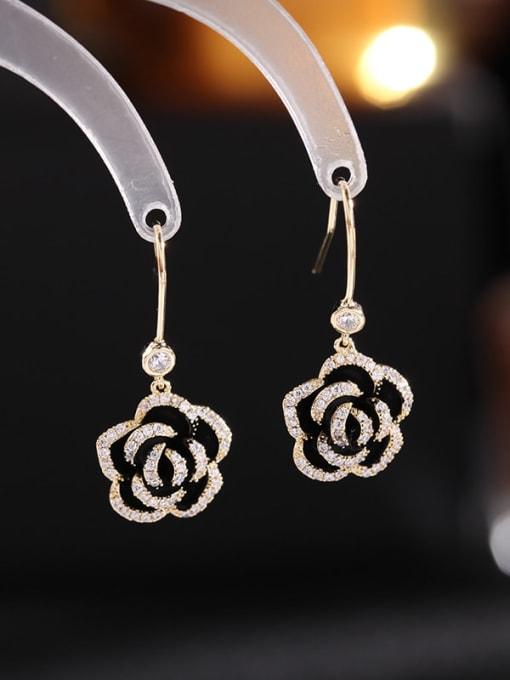 Black Rose Brass Cubic Zirconia Flower Vintage Hook Earring