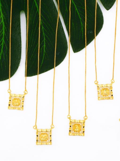 CC Brass Cubic Zirconia Religious Vintage Necklace
