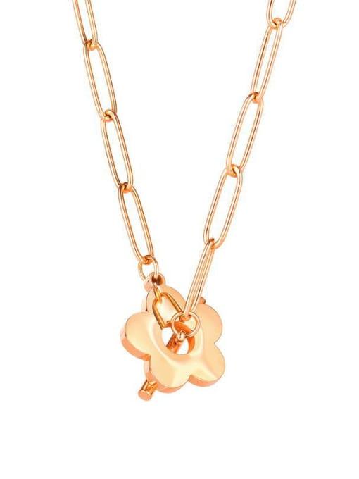 Open Sky Titanium Steel Flower Minimalist Pendant Necklace 0