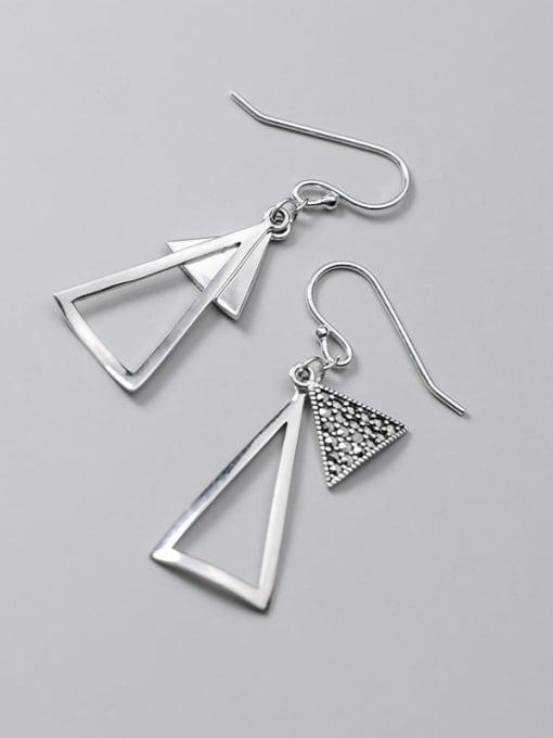 Rosh 925 Sterling Silver Retro Geometric Triangle  Vintage Drop Earring 3