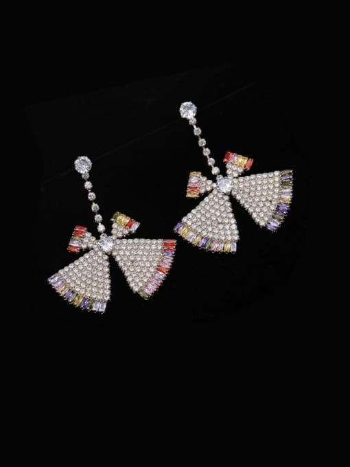 Luxu Brass Cubic Zirconia Triangle Statement Drop Earring