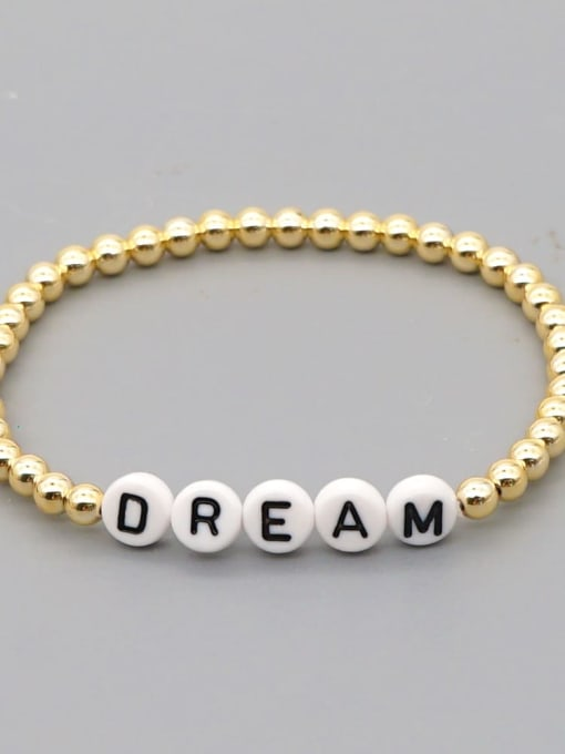 QT B200015O Stainless steel Bead Acrylic Letter Bohemia Beaded Bracelet
