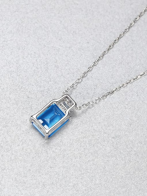 CCUI 925 Sterling Silver Cubic Zirconia Geometric Minimalist Necklace 2