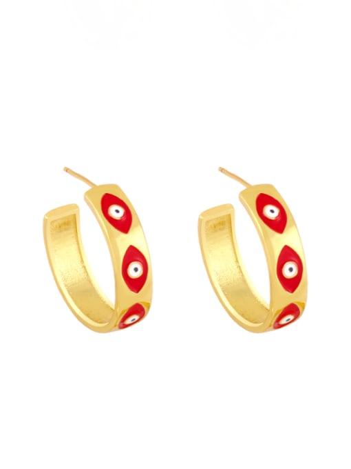 gules Brass Enamel Evil Eye Minimalist Stud Earring