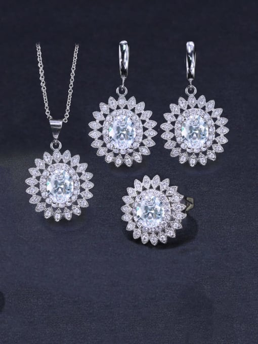 L.WIN Brass Cubic Zirconia  Dainty Geometric Earring Ring and Necklace Set 3