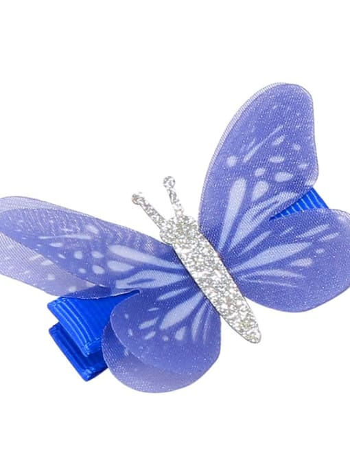 8 Alloy Fabric Cute Butterfly  Multi Color Hair Barrette