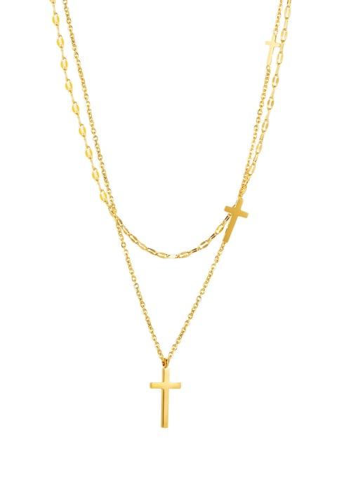 2020 gold Titanium Steel Cross Minimalist Multi Strand Necklace