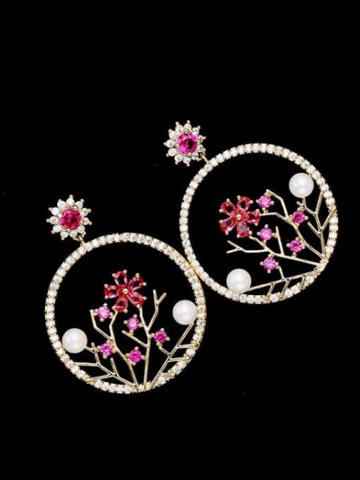 golden Brass Cubic Zirconia Flower Trend Drop Earring