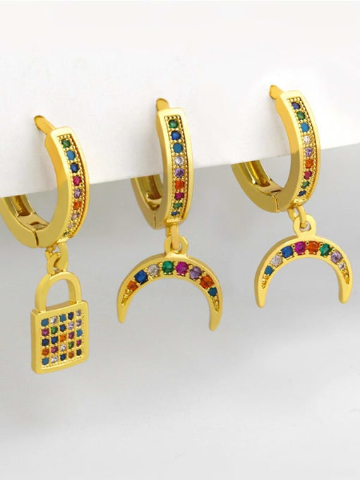 CC Brass Cubic Zirconia Moon Vintage Huggie Earring 1