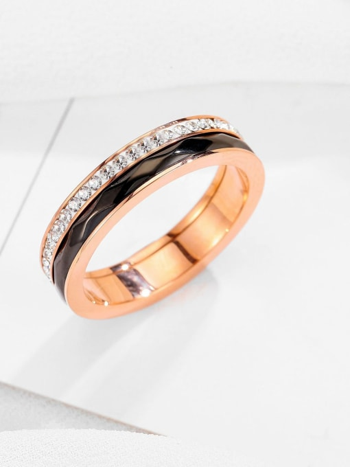 MIYA Titanium Steel Enamel Rhinestone Round Minimalist Band Ring 1