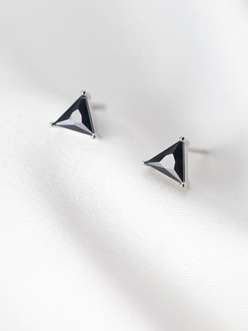 Rosh 925 Sterling Silver Cubic Zirconia Triangle Minimalist Stud Earring 2