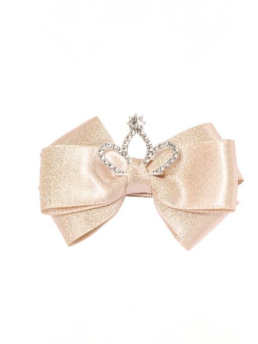 4 champagne Alloy Fabric Cute Bowknot  Rhinestone White Hair Barrette