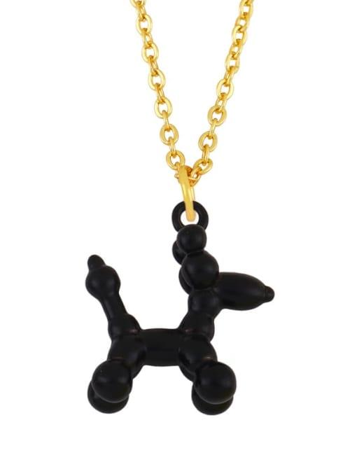black Brass Enamel Cute Dog Pendant Necklace