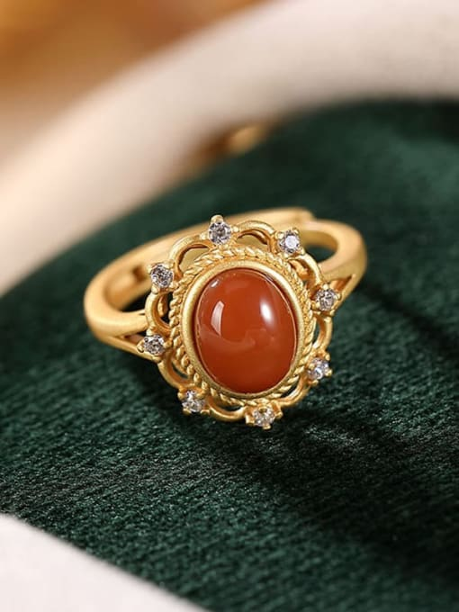 DEER 925 Sterling Silver Carnelian Geometric Ethnic Band Ring 3
