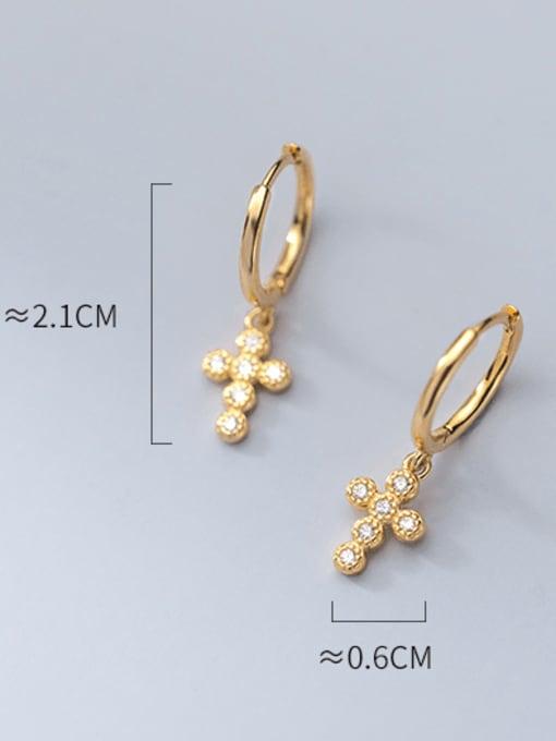 Rosh 925 Sterling Silver Cubic Zirconia Cross Minimalist Huggie Earring 3