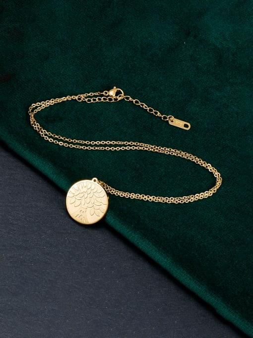 A TEEM Titanium Steel Coin Minimalist Necklace 0
