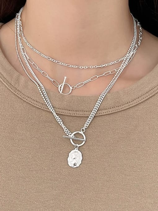 Boomer Cat 925 Sterling Silver Bead Geometric Vintage Multi Strand Necklace 4
