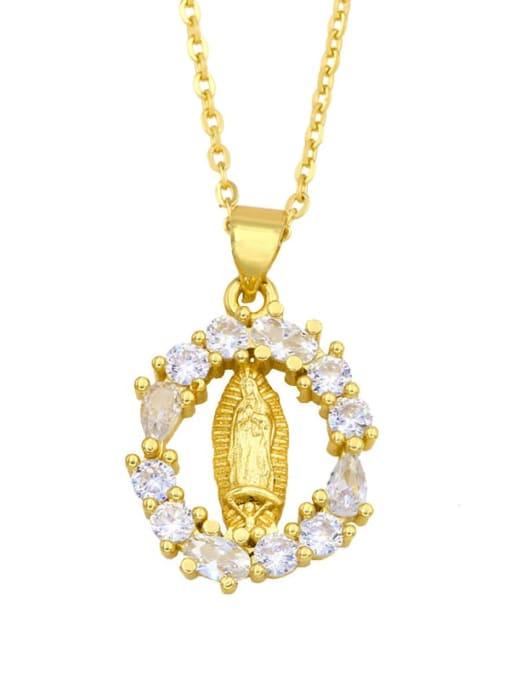 CC Brass Cubic Zirconia Heart Hip Hop Regligious Necklace 1