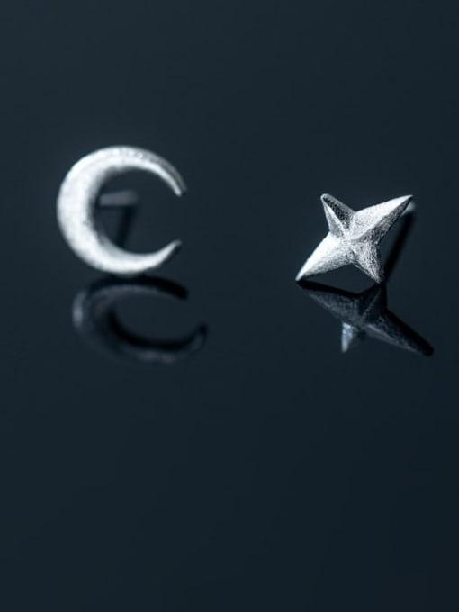 Rosh 925 Sterling Silver Asymmetry Moon Minimalist Stud Earring 0