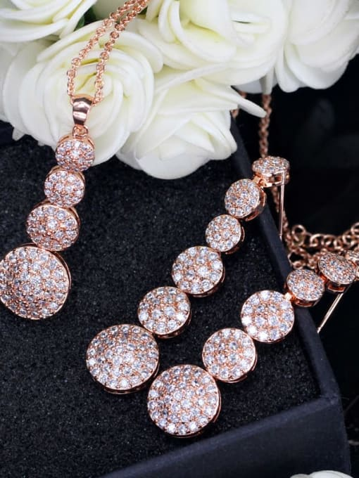 L.WIN Brass Cubic Zirconia Classic Geometric  Earring and Necklace Set 2