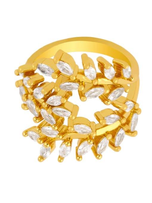 CC Brass Cubic Zirconia Leaf Vintage Band Ring 3