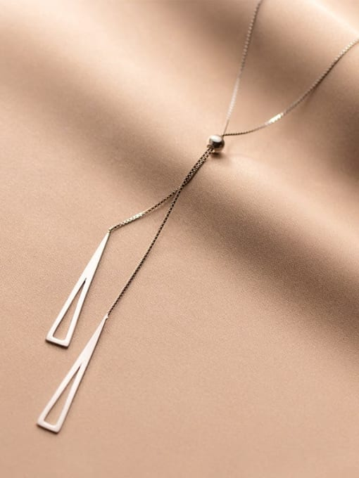 Rosh 925 Sterling Silver Triangle Minimalist Lariat Necklace