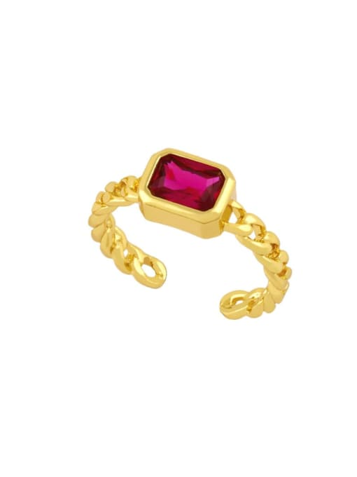 red Brass Cubic Zirconia Geometric Vintage Band Ring