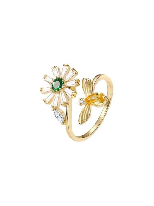 Luxu Brass Cubic Zirconia Flower Minimalist Band Ring 0