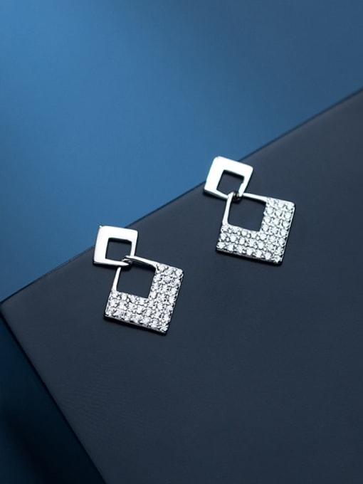 Rosh 925 Sterling Silver Cubic Zirconia Geometric Minimalist Drop Earring 0
