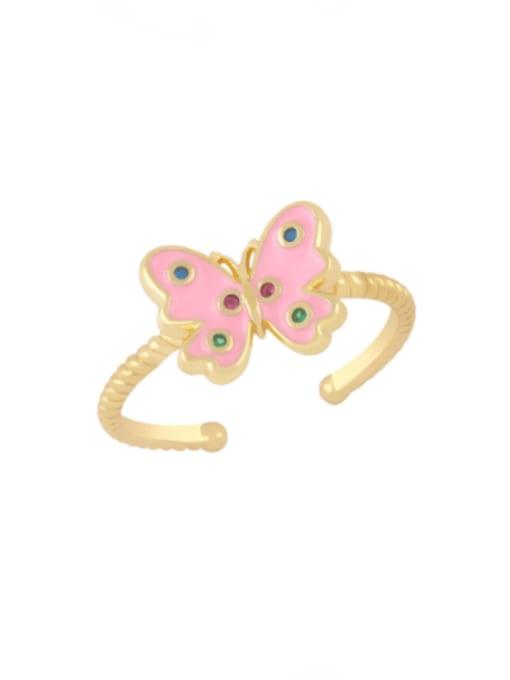 Pink Brass Enamel Butterfly Minimalist Band Ring