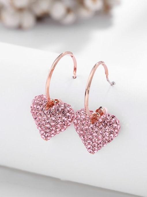 Luxu Brass Rhinestone Heart Dainty Hook Earring 2