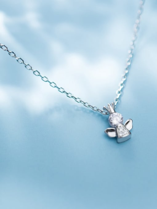 Rosh 925 Sterling Silver Cubic Zirconia Angel Cute Necklace 2