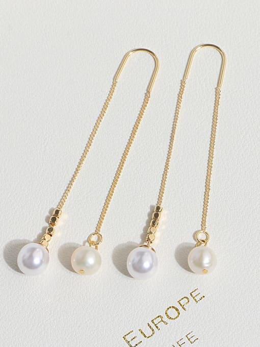 RAIN Brass Freshwater Pearl Tassel Minimalist Threader Earring 1