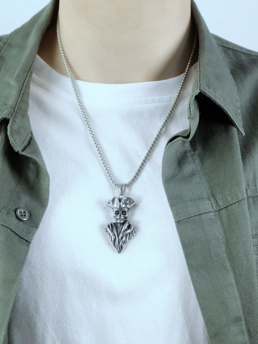 Open Sky Titanium Steel Skull Vintage Necklace 2