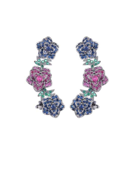Luxu Brass Cubic Zirconia Flower Ethnic Clip Earring 3