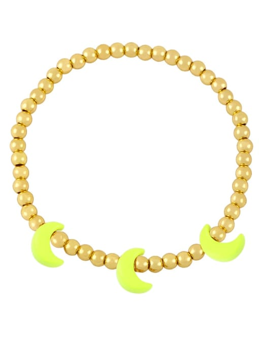 CC Brass Enamel Moon Minimalist Beaded Bracelet 4