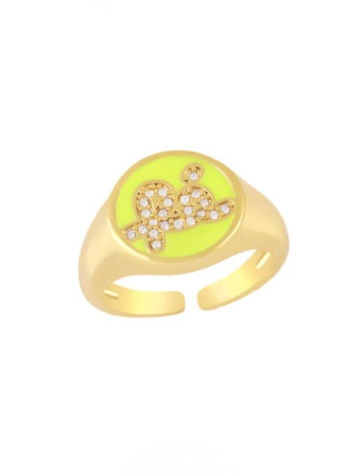 yellow Brass Enamel Letter Minimalist Band Ring