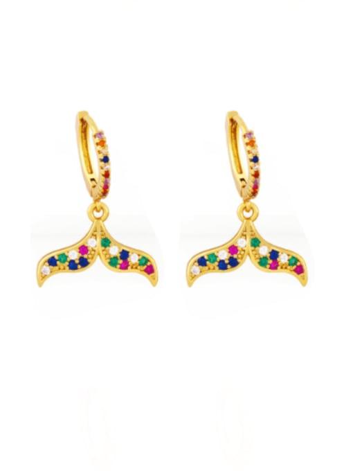 CC Brass Cubic Zirconia Fish tail fish bone Hip Hop Huggie Earring 1