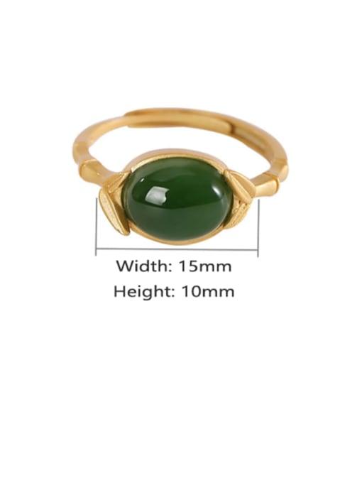 DEER 925 Sterling Silver Jade Oval Vintage Band Ring 2
