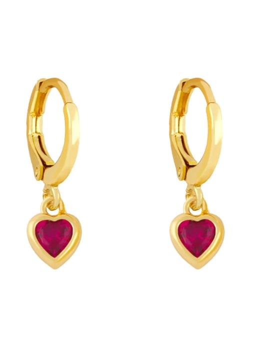 Rose red Brass Cubic Zirconia Heart Minimalist Huggie Earring