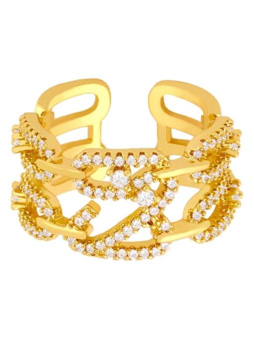 CC Brass Cubic Zirconia Irregular Ethnic Band Ring 2