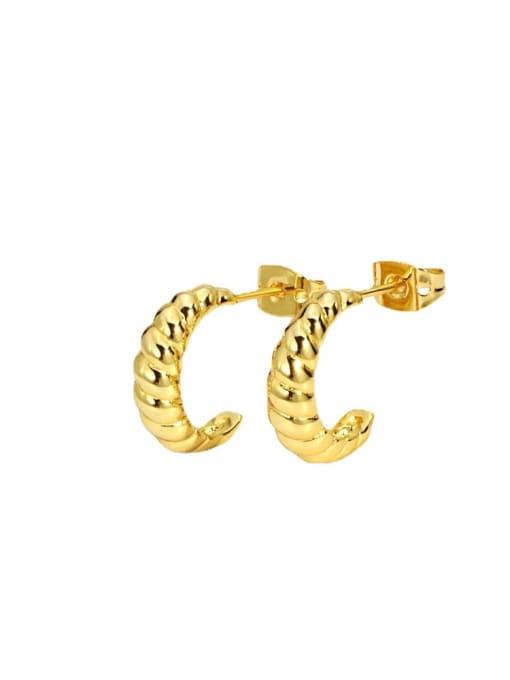 CHARME Brass Twist Irregular Vintage Stud Earring