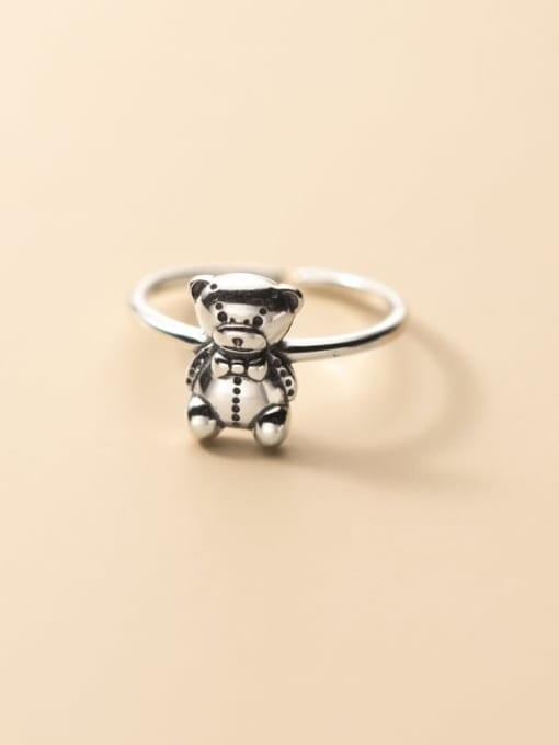 Rosh 925 Sterling Silver Small Bear Vintage Band Ring 0